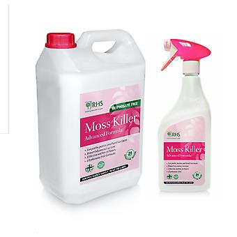 RHS 1L + 5L Moss killer | Glyphosate free formula | Paths, patios and more | 6L
