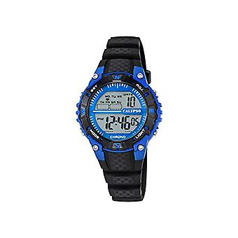 Calypso-Unisex digital watch with LCD Digital Display and plastic strapping, color: black, 5 K5684