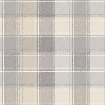 Arthouse Country Check Tartan Plaid Grey Beige Wallpaper Checked Chequered