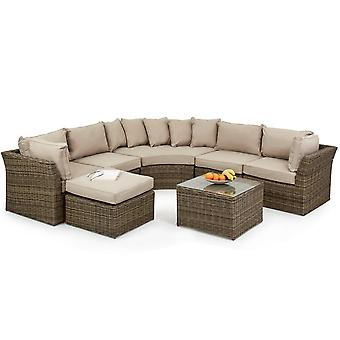 Maze Rattan Winchester Modular Rounded Corner Sofa Set - Light Brown