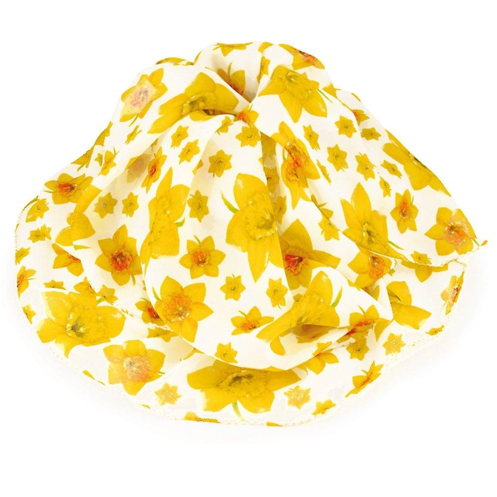 Eternal Collection Welsh Daffodil jaune And blanc Multi Colourouge Pure Silk Scarf