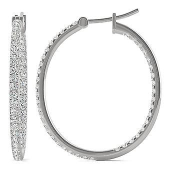 14K White Gold Moissanite by Charles & Colvard 1.4mm Round Hoop Earrings, 1.09cttw DEW