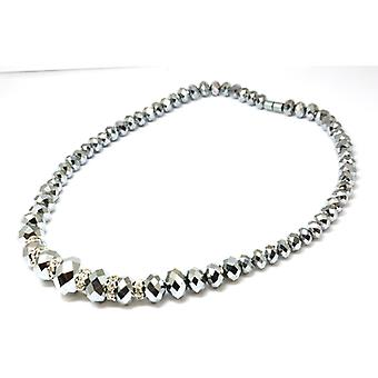 The Olivia Collection Shiny Grey Faceted Graduating Glass Beads 18