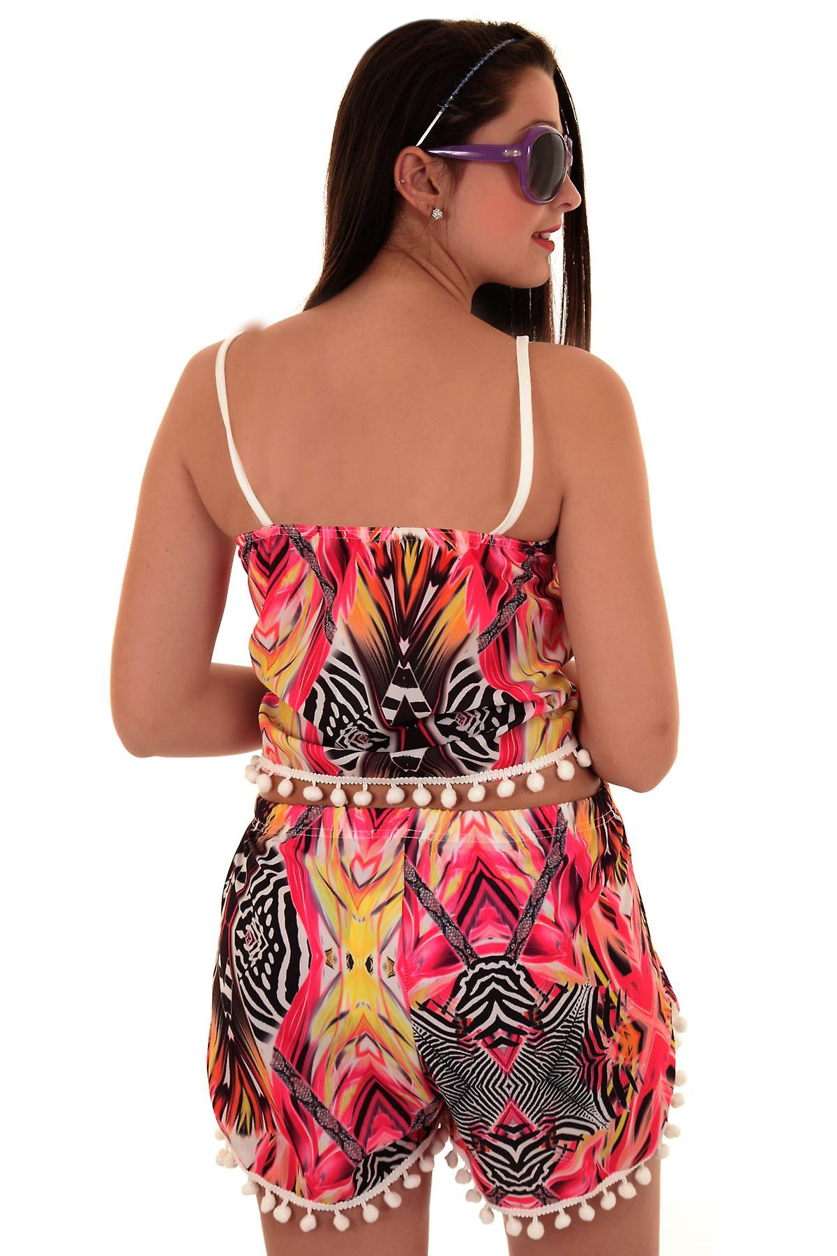 Ladies Bobble Trim Animal Aztec Print Women's Shorts Cami Crop Top Vest Set