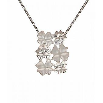 "Cavendish French Silver four leaf clover cluster pendant with 16 - 18"" Silver Chain"