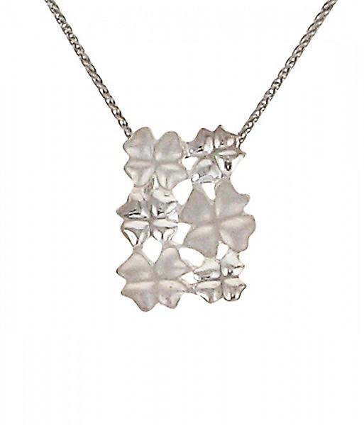 Cavendish French Silver four leaf clover cluster pendant