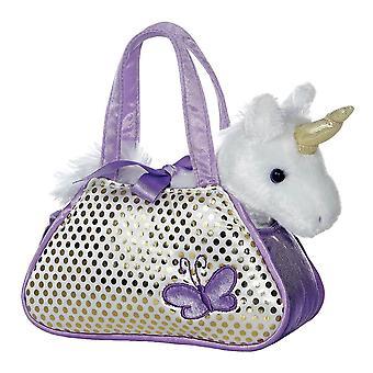 Fancy Pal Purple Unicorn in Carry Bag