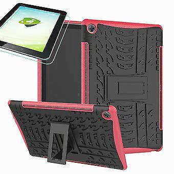 Pour Samsung Galaxy Tab A 10,1 T510/T515 2019 hybride couverture extérieure rose sac + 0,3 H9 verre de protection