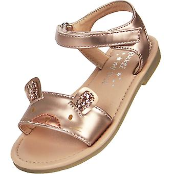 Young girls rose gold mouse face sandals
