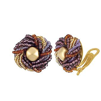 Eternal Collection Luxe Murano Glass Torsade Clip On Earrings