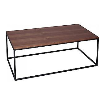 Gillmore Space Walnut And Black Metal Contemporary Rectangular Coffee Table