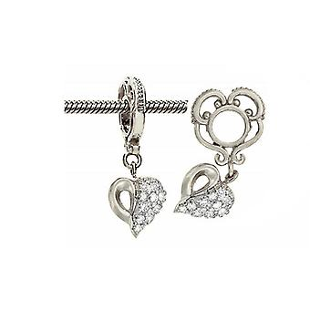 Storywheels Silver & Diamond Heart Dangle Charm S029D