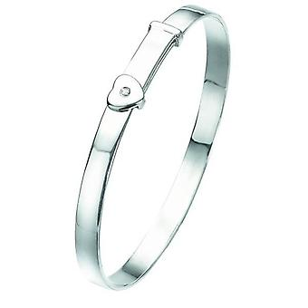 D For Diamond Silver Heart Baby Bangle B773