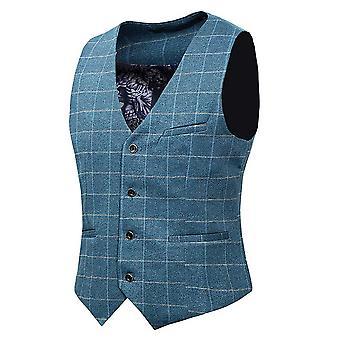 Allthemen's Vintage Tweed Suit Waistcoat Checkered Slim Fit V-Neck Sleeveless Tops Smart Formal Pink