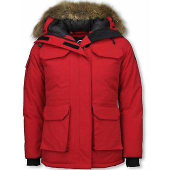 Winter jacket ladies – with fur collar – red