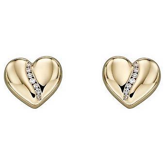 Elements Gold Heart Diamond Channel Earrings - Gold/Silver