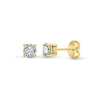 Jewelco London Ladies Solid 18ct Yellow Gold 4 Claw Set Round G SI1 0.2ct Diamond Solitaire Stud Earrings