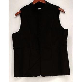 Susan Graver Faux Suede w/ Faux Fur Lining Brown Vest Womens
