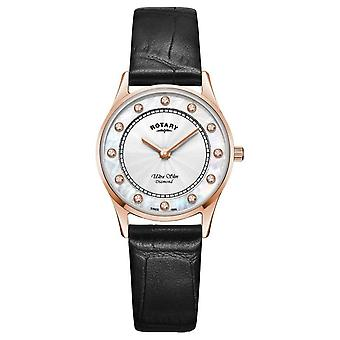 Rotary | Women's Ultra Slim Black Leather | Mother Of Pearl Dial LS08304/41/D Watch