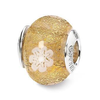 925 Sterling Silver Italian Murano Glass Reflections Gold White Flower Italian Murano Bead Charm