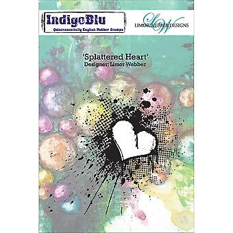 Indigoblu Cling Mounted Stamp-Splattered Heart IND0136