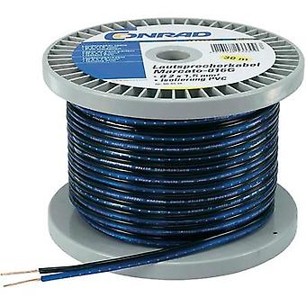 Conrad Components 100 mM Reel Professional Speaker Cable, 2 x 1.35 mm², AWG, Blue, Black Sheath