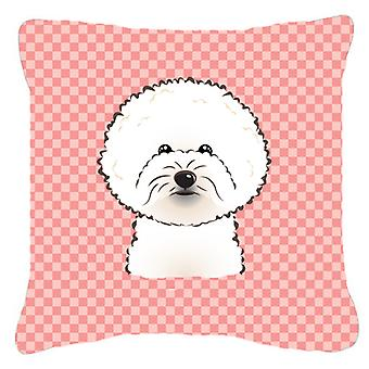 Checkerboard Pink Bichon Frise Canvas Fabric Decorative Pillow BB1217PW1818