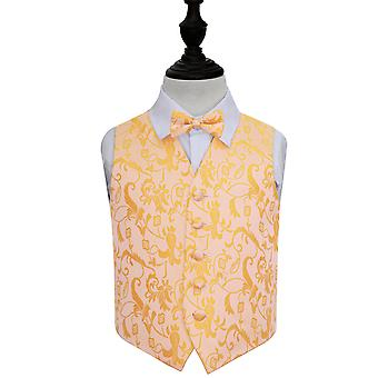 Boy's Gold Passion Floral Patterned Wedding Waistcoat & Bow Tie Set