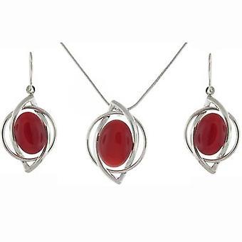 Verzilverd en ovale robijn rood steen Nouveau oorbellen & Pendant Set