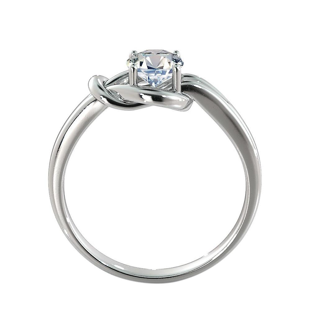 1.15 Carat G SI1 Diamond Engagement Ring 14K White Gold Solitaire Knot 4 prongs