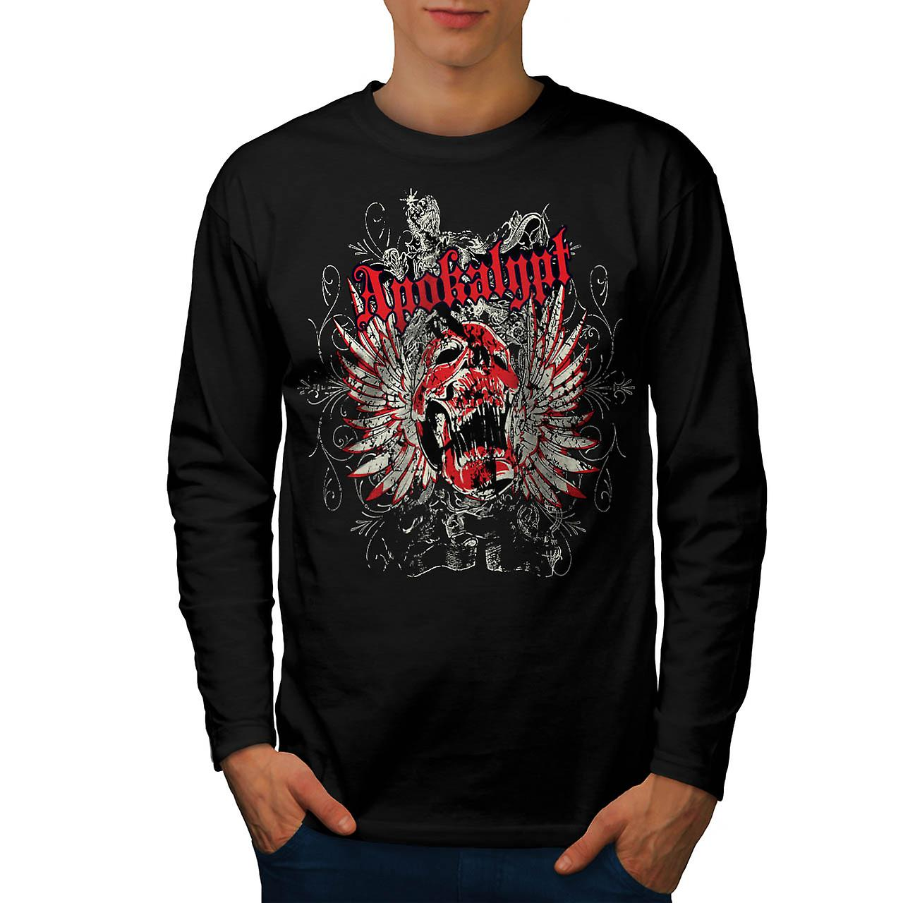 Apocalypse Dead Curse Skull Head Men Black Long Sleeve T-shirt | Wellcoda