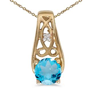 10k Yellow Gold Round Blue Topaz And Diamond Pendant with 16