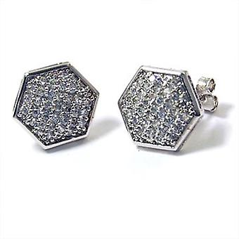 92 sterling silver MICRO PAVE earrings - hex 13 mm