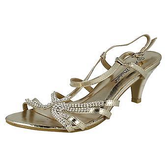 Ladies Anne Michelle Diamante Detail Cross Over Heels