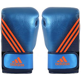 Adidas Speed 300 Hook and Loop Boxing Gloves - Metallic Blue/Collegiate Navy