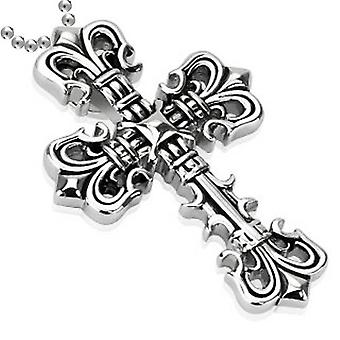 Fleur De Lis Cross Pendant, Stainless Steel Jewellery with Chain