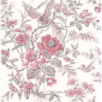 Floral Wallpaper Flowers Birds Heavyweight Washable Paste The Paper Fine Decor