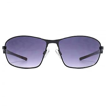 FCUK Sleek Temple Metal Wrap Sunglasses In Matte Black