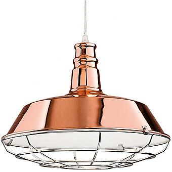 Firstlight Industrial Quirky Copper Open Grill Ceiling Pendant