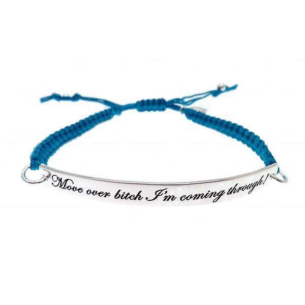 W.A.T Blue Macrame Cord 'Move Over Bitch I'm Coming Through' Quote Bracelet