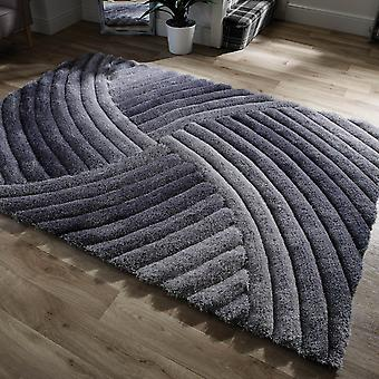 Verge Furrow Rugs In Grey