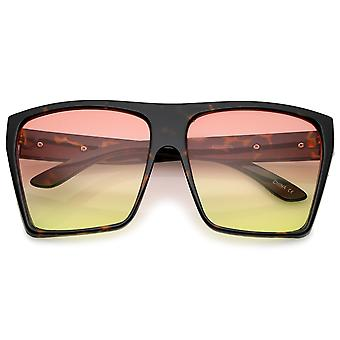 Oversize Flat Top Metal Temple Accent Gradient Lens Square Sunglasses 62mm