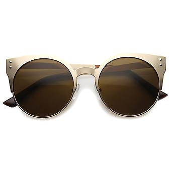 Womens Metal Cat Eye Sunglasses With UV400 Protected Composite Lens