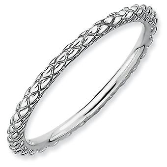 Sterling Silver Stackable Expressions Rhodium Criss-Cross Ring - Ring Size: 5 to 10