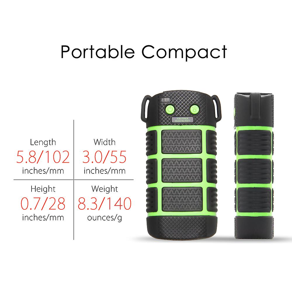 Tritina Waterproof Power bank,Shockproof 5200mah with LED Light, SOS Signal