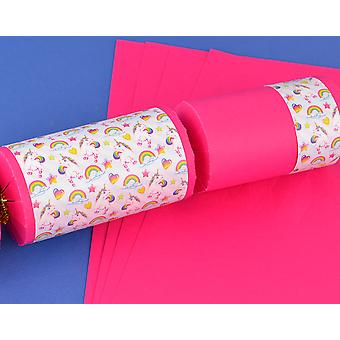 8 Hot Pink Kids Rainbow Unicorn Make & Fill Your Own Crackers Kit