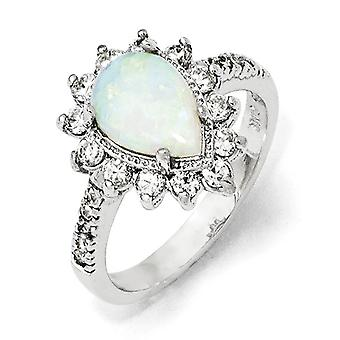 Sterling Silver Rhodium-plated Cubic Zirconia Synthetic Simulated Opal Pear Shaped Ring - Ring Size: 6 to 8