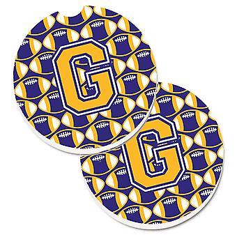 Letra G del balompié púrpura y oro juego de taza 2 soporte coche posavasos