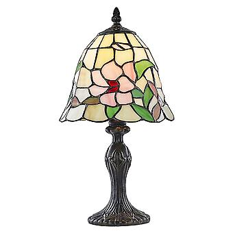 Small Bell Shaped Stained Glass Tiffany Lamp with Antique Bronze Base