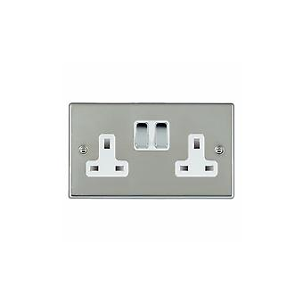 Hamilton Litestat Hartland Bright Stainless Chrome 2g 13A DP Switched Socket BC/WH